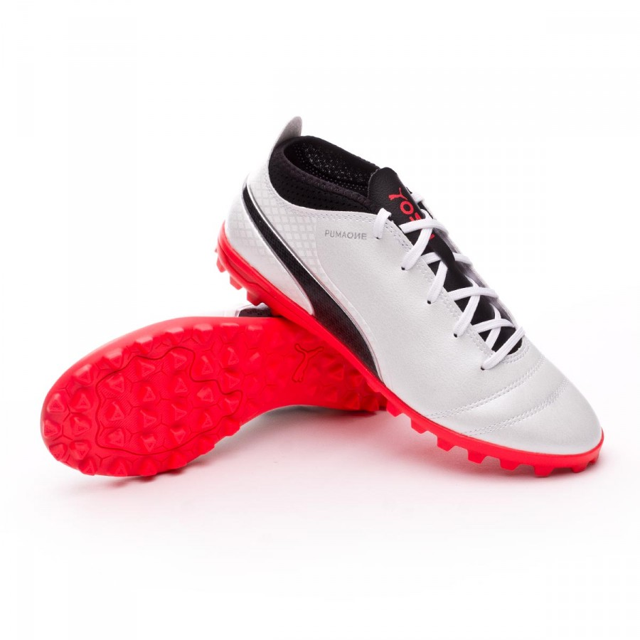 145141474 Football Boot Puma Jr Puma ONE 17.4 Turf Puma white-Puma black-Fiery ...