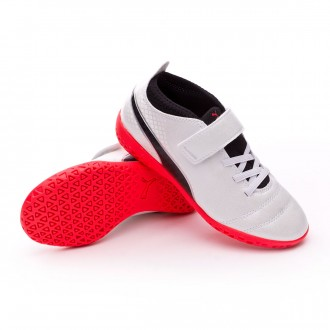 Zapatilla  Puma ONE 17.4 IT Velcro Niño Puma white-Puma black-Fiery coral