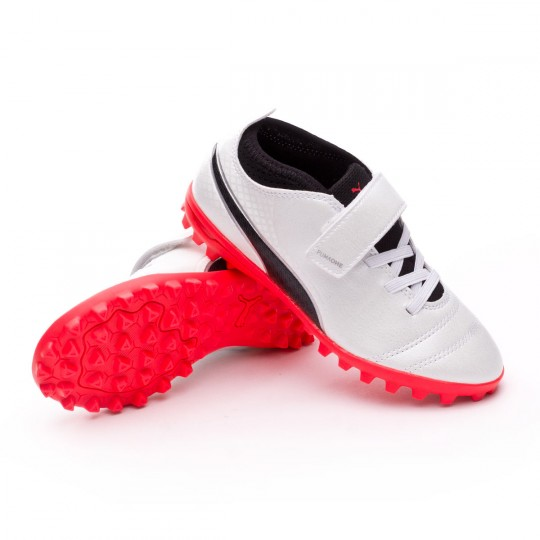 Sapatilha  Puma Jr Puma ONE 17.4 Turf Velcro Puma white-Puma black-Fiery coral