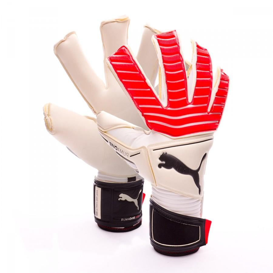 82f263a9eeb8 Puma One Grip 17.1 Glove. Puma white-Fiery coral-Puma black ...