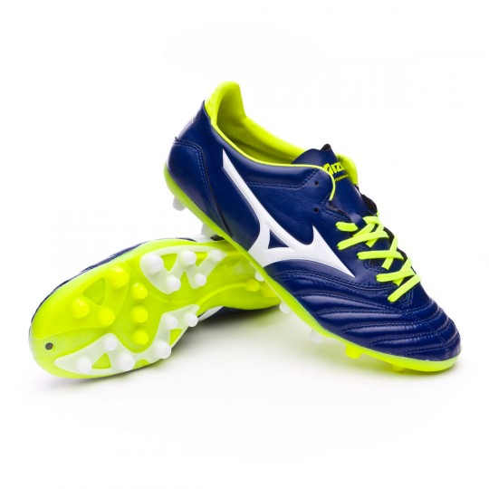 Chuteira  Mizuno Morelia NEO KL AG Blue print-White-Safety yellow