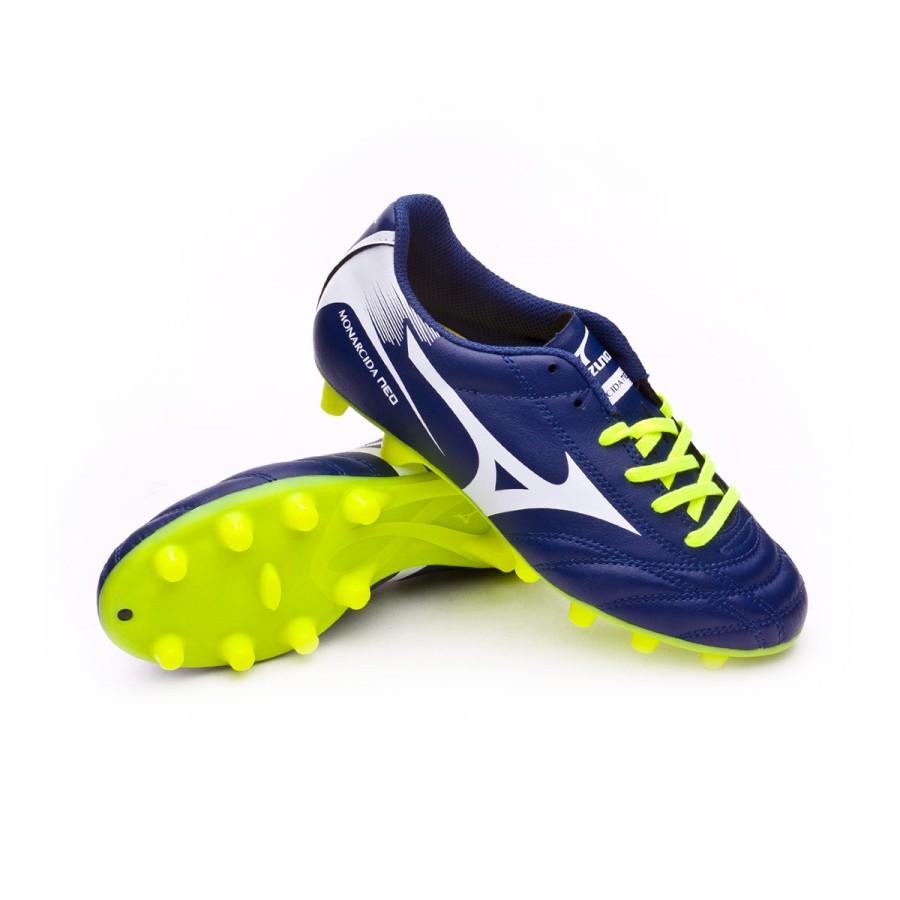 acdda09d3b712 Bota de fútbol Mizuno Monarcida NEO MD Niño Blue depths-White-Safety yellow  - Tienda de fútbol Fútbol Emotion