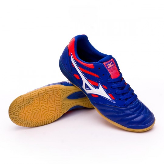 Sapatilha de Futsal  Mizuno Sala Premium 2 IN Surf the web-White-Fiery coral