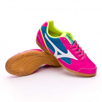 Sapatilha de Futsal  Mizuno Sala Club 2 IN Pink glo-White-Blue aster