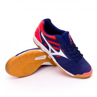 Futsal Boot  Mizuno Kids Sala Classic 2 IN Blue print-White-Fiery coral
