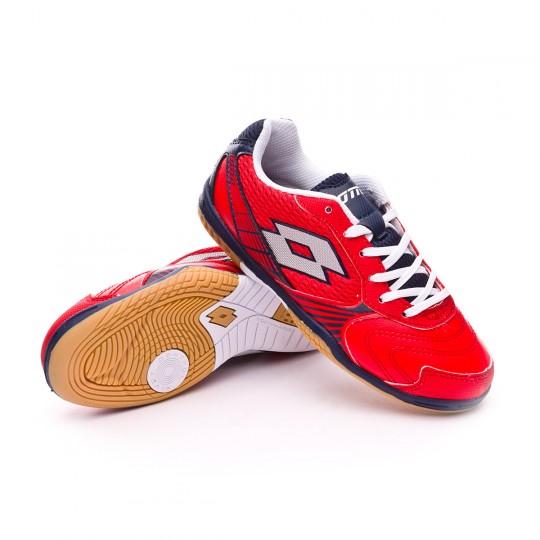 Chaussure de futsal  Lotto Jr Tacto II 500 Red reef-Silver metal