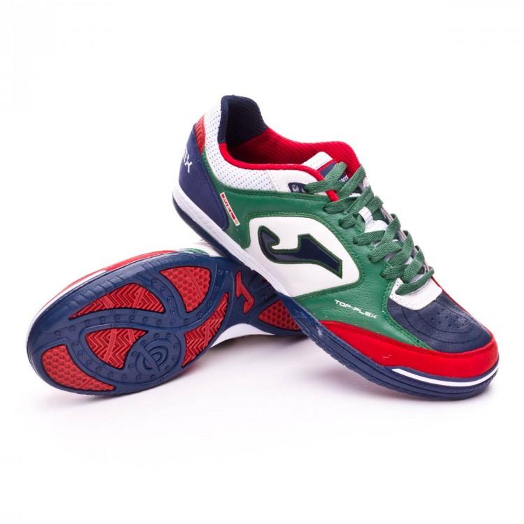 Futsal Boot Joma Top Flex White-Green-Blue - Football store Fútbol ... e1a1a666db1bd