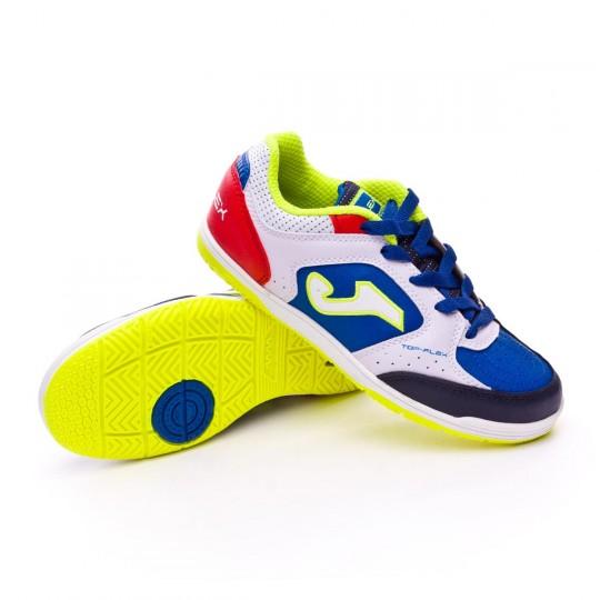 Sapatilha de Futsal  Joma Jr Top Flex White-Blue