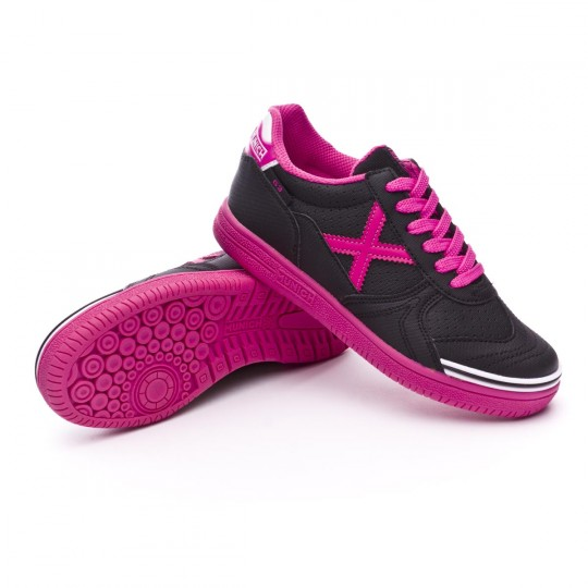 Sapatilha de Futsal  Munich Jr G-3 BTS Kid Laces Preto-Rosa