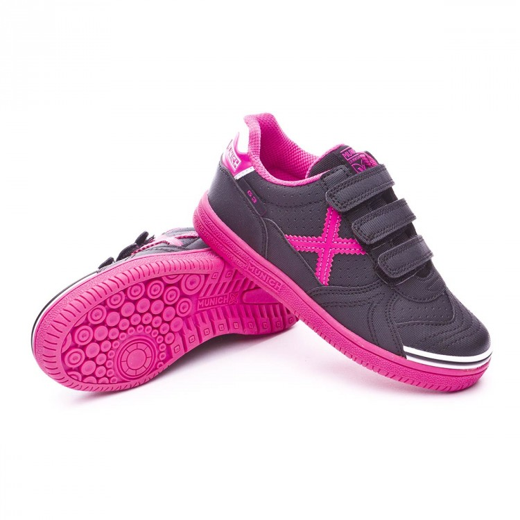 Chaussure de futsal Munich G3 Kid Velcro Enfant Noir-Rose - Boutique ... df507368aff8d