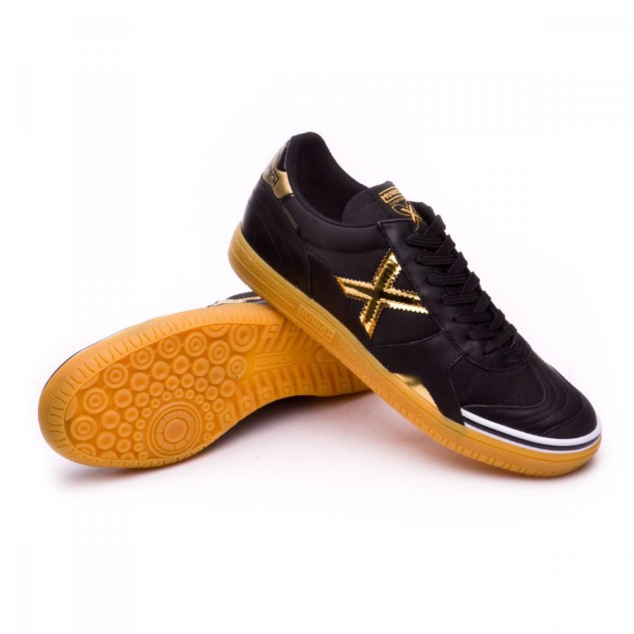 02ab7247f0a Futsal Boot Munich Gresca Black-Golden - Football store Fútbol Emotion