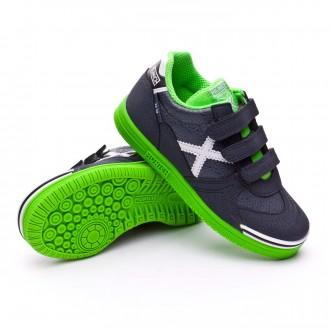 Sapatilha de Futsal  Munich Jr G3 BTS Kid Velcro Cinza-Verde