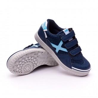 Sapatilha de Futsal  Munich Jr G3 Mesh Velcro Azul Marinho