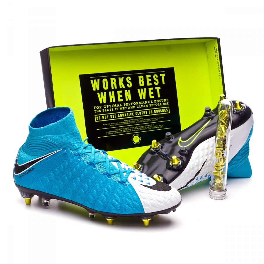 e64b14ae95d Nike Hypervenom Phantom III DF SG-Pro Anti-Clog Football Boots. White-Black  Photo Blue-Chlorine ...