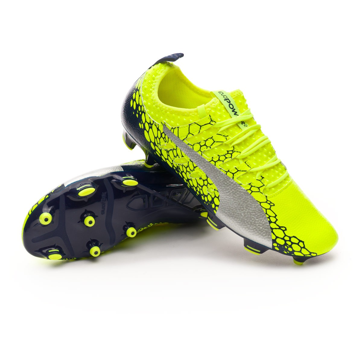 Chuteira Puma evoPOWER Vigor 2 Graphic FG Safety yellow-Silver-Blue depths  - Loja de futebol Fútbol Emotion f6c1539dfc4cf