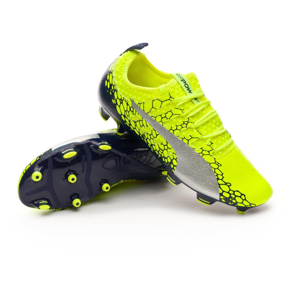 Bota de fútbol Puma evoPOWER Vigor 2 Graphic FG Safety yellow-Silver ... 5964024ac9cb2