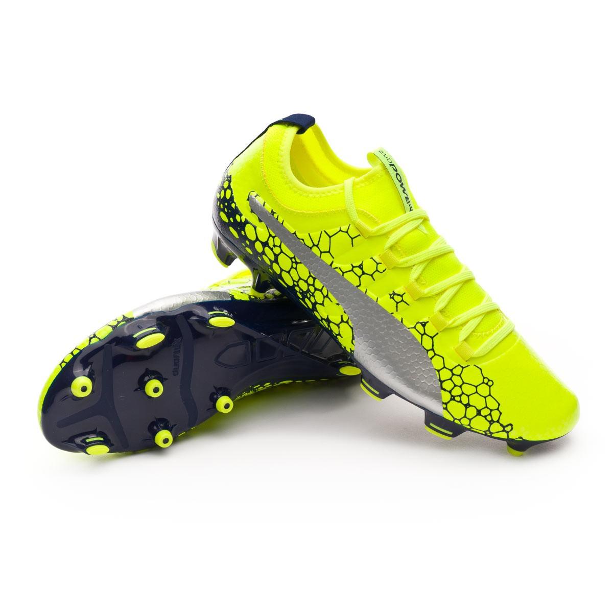 438ada0750fd Football Boots Puma evoPOWER Vigor 3 Graphic FG Safety yellow-Silver ...