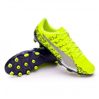 Chuteira  Puma evoPOWER Vigor 4 Graphic AG Safety yellow-Silver-Blue depths