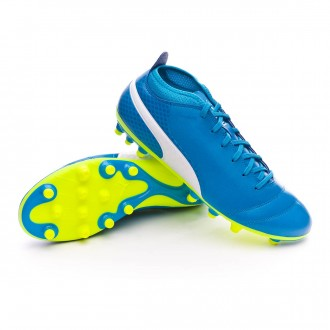 Chuteira  Puma One 17.4 AG Atomic blue-Puma white-Safety yellow