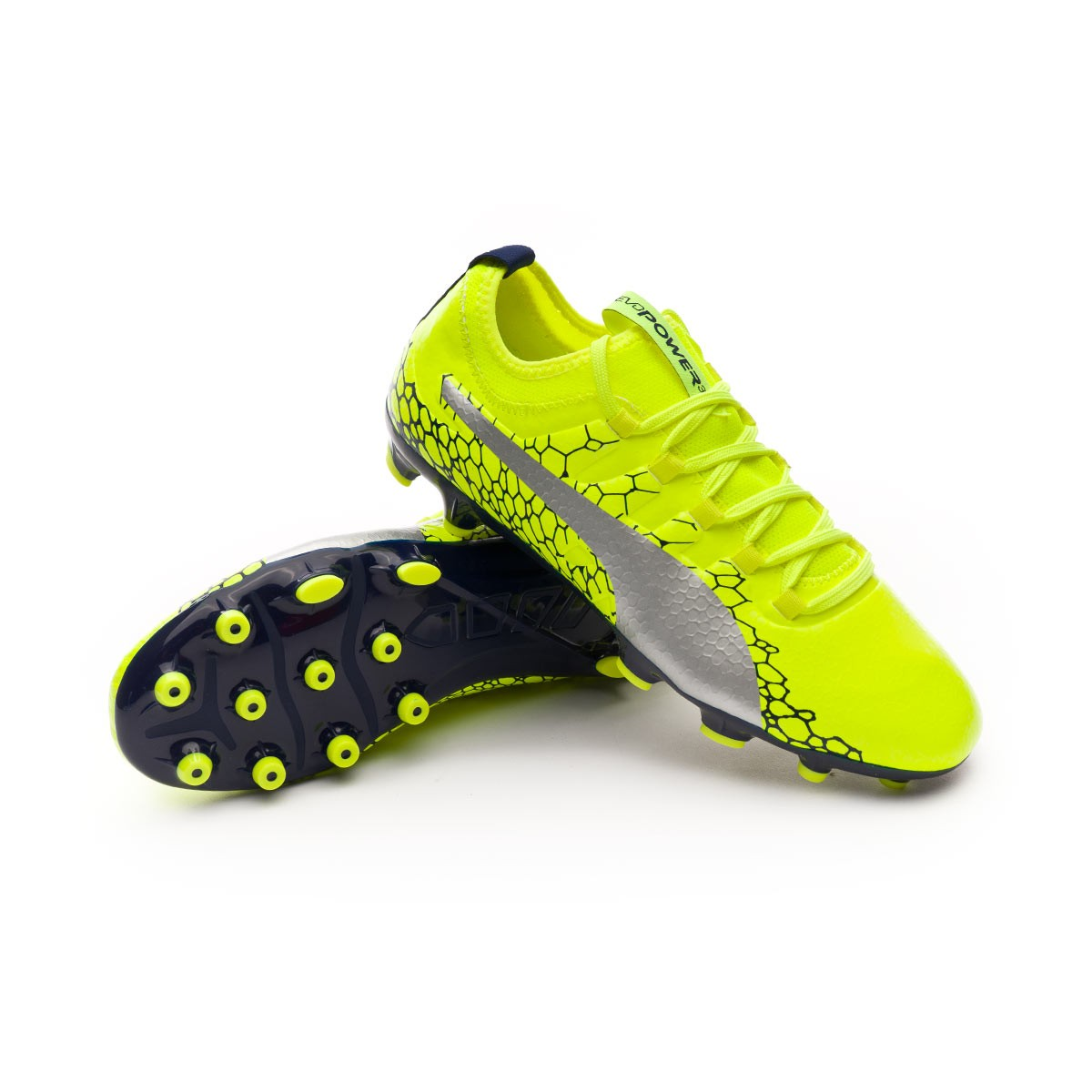 2f3d13cba478 Football Boots Puma Kids evoPOWER Vigor 3 Graphic AG Safety yellow ...