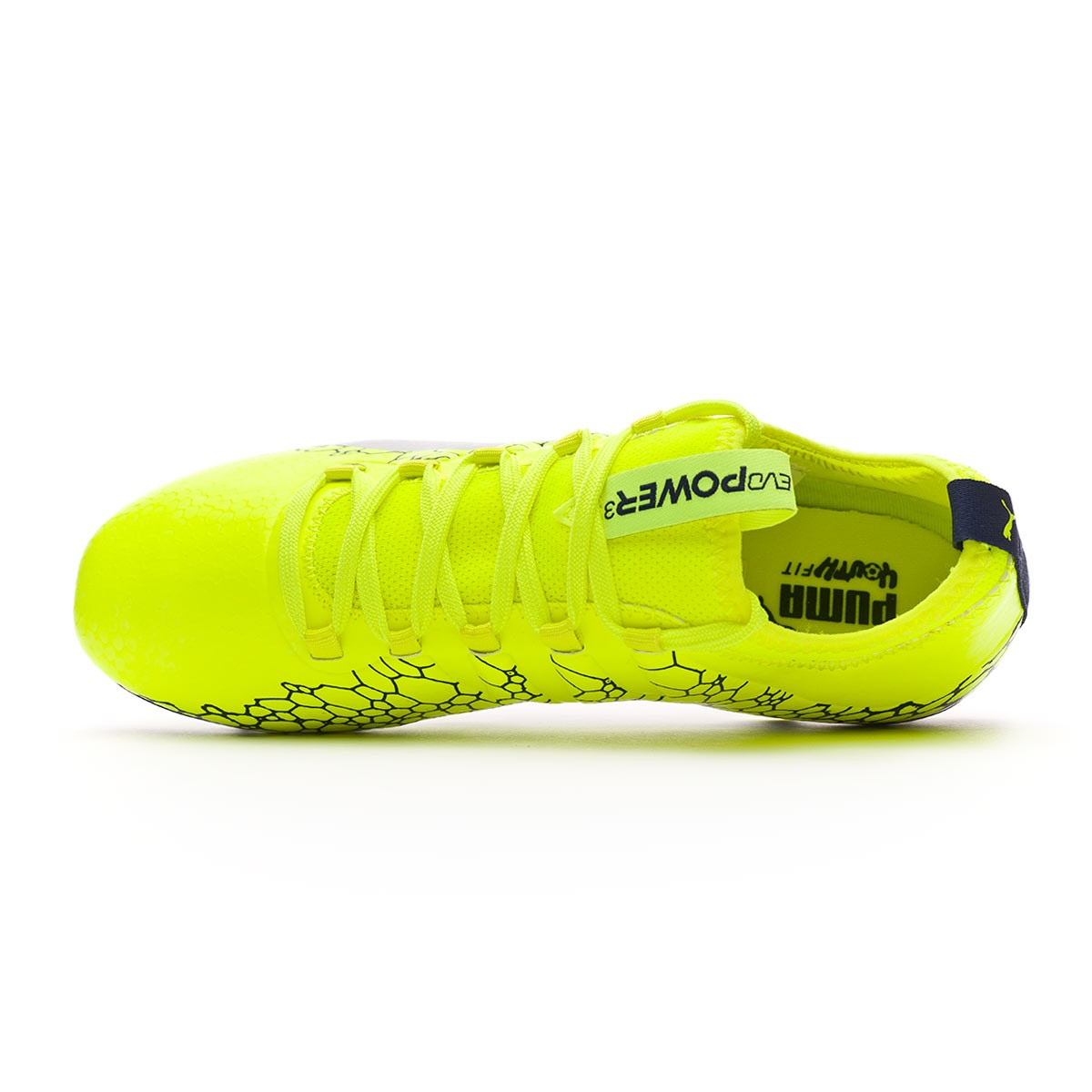7d864a7db14a Football Boots Puma Kids evoPOWER Vigor 3 Graphic AG Safety  yellow-Silver-Blue depths - Tienda de fútbol Fútbol Emotion