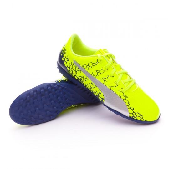 Chaussure de futsal  Puma Jr evoPOWER Vigor 4 Graphic TT Safety yellow-Silver-Blue depths