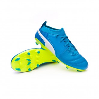 Bota  Puma One 17.3 AG Niño Atomic blue-Puma white-Safety yellow