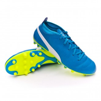 Chuteira  Puma Jr One 17.4 AG Atomic blue-Puma white-Safety yellow