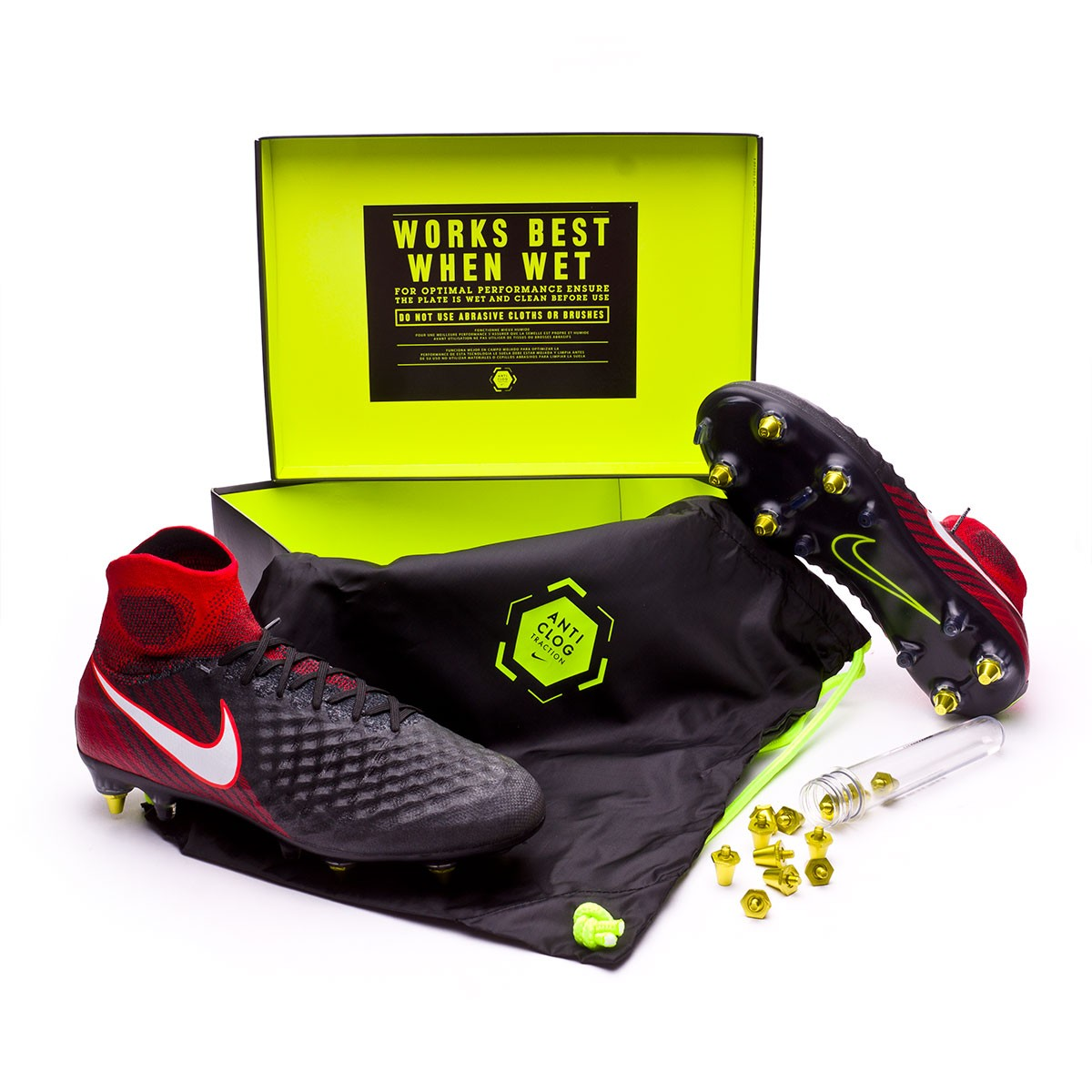 brand new 83483 3f00a Nike Magista Obra II ACC SG-Pro Anti-Clog Football Boots. Black-White-University  red ...