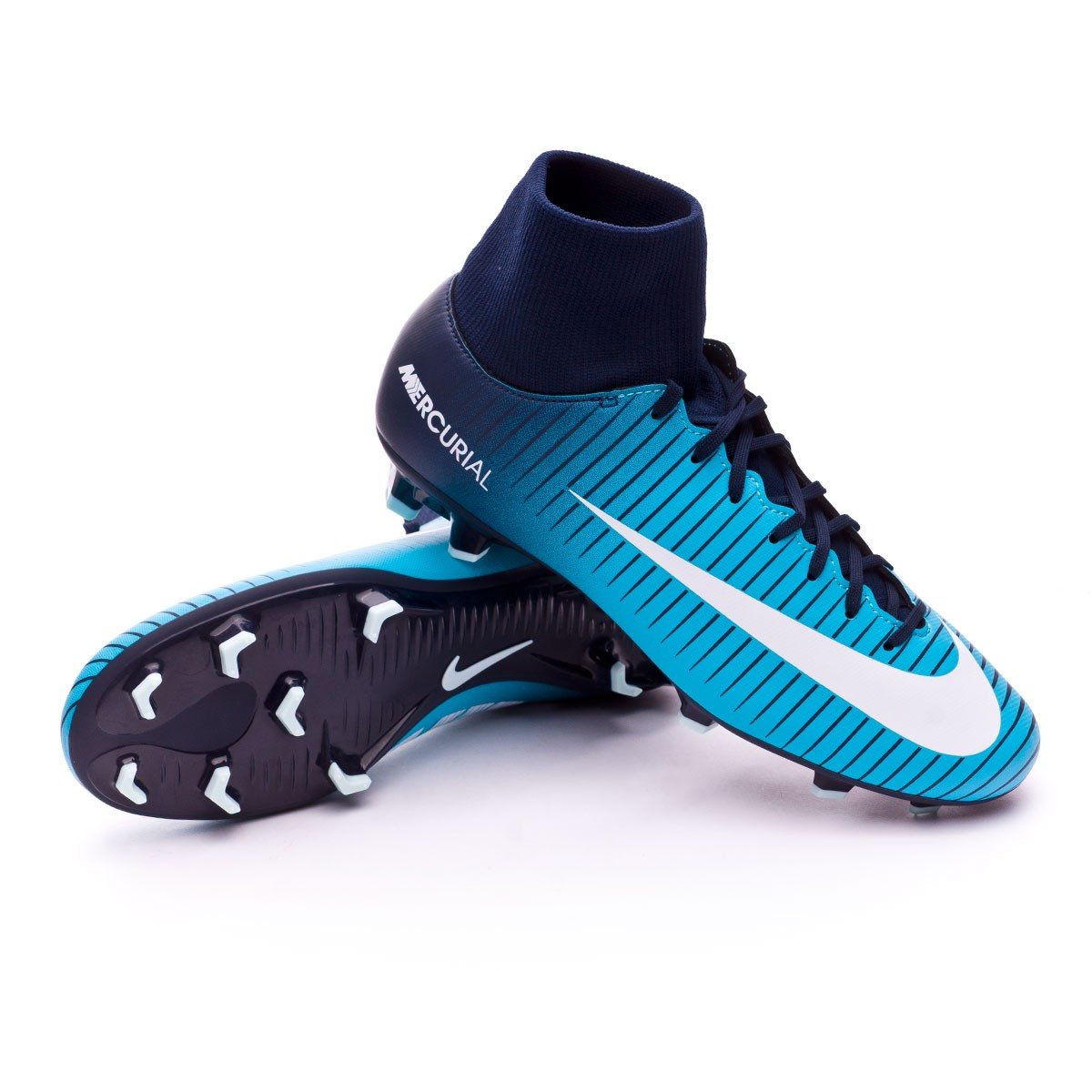 ... Bota Mercurial Victory VI DF FG Obsidian-White-Gamma blue. Video d3f38566a0