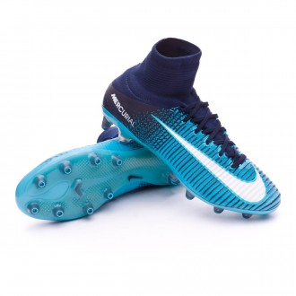 Chuteira  Nike Mercurial Superfly V ACC AG-Pro Obsidian-White-Gamma blue-Glacier blue