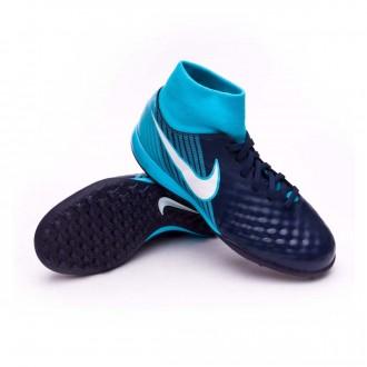 Zapatilla  Nike MagistaX Onda II DF Turf Niño Obsidian-White-Gamma blue-Glacier blue