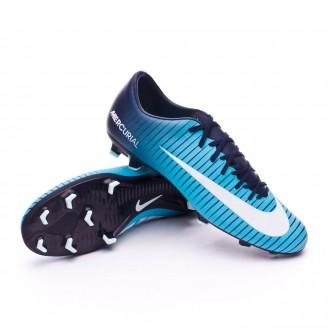 Chuteira  Nike Mercurial Victory VI FG Obsidian-White-Gamma blue-Glacier blue