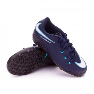 Zapatilla  Nike HypervenomX Phelon III Turf Niño Obsidian-White-Gamma blue-Glacier blue