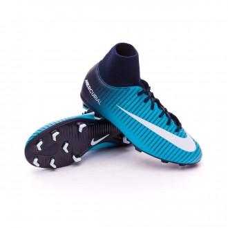 Chuteira  Nike Jr Mercurial Victory VI DF FG Obsidian-White-Gamma blue