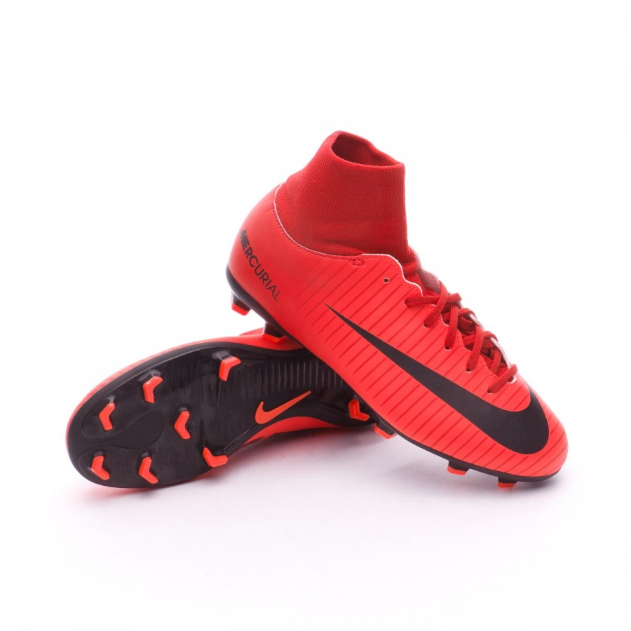 78b5bdaffb0 Football Boots Nike Kids Mercurial Victory VI DF FG University red ...