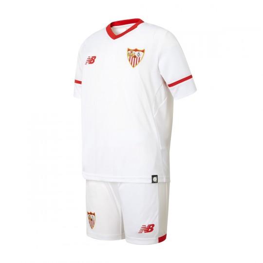 Conjunto  New Balance Sevilla FC Primera Equipación 2017-2018 Niño Blanco