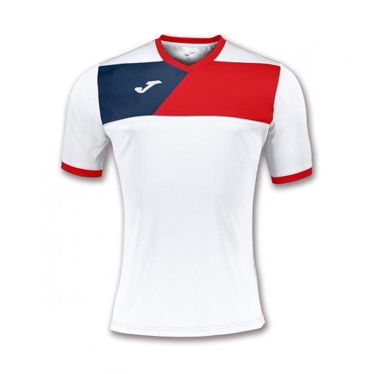Camiseta  Joma Crew II m/c Blanco-Rojo-Marino