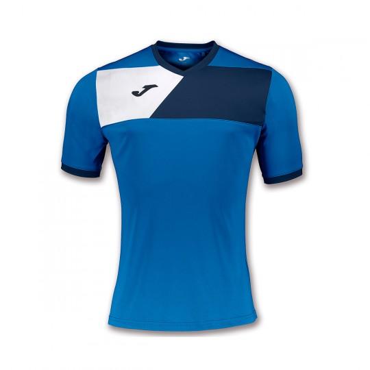 Camiseta  Joma Crew II m/c Royal-Marino-Blanco