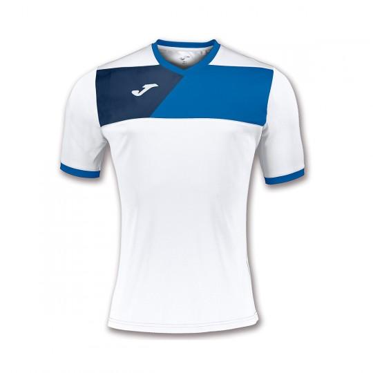 Camiseta  Joma Crew II m/c Blanco-Royal-Marino