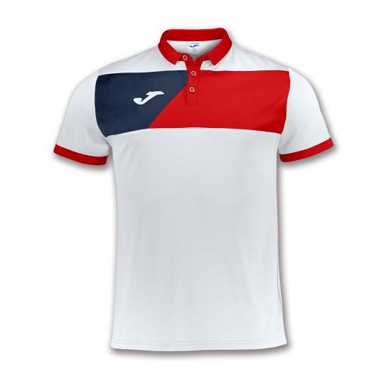 Polo  Joma Crew II Blanco-Rojo-Marino