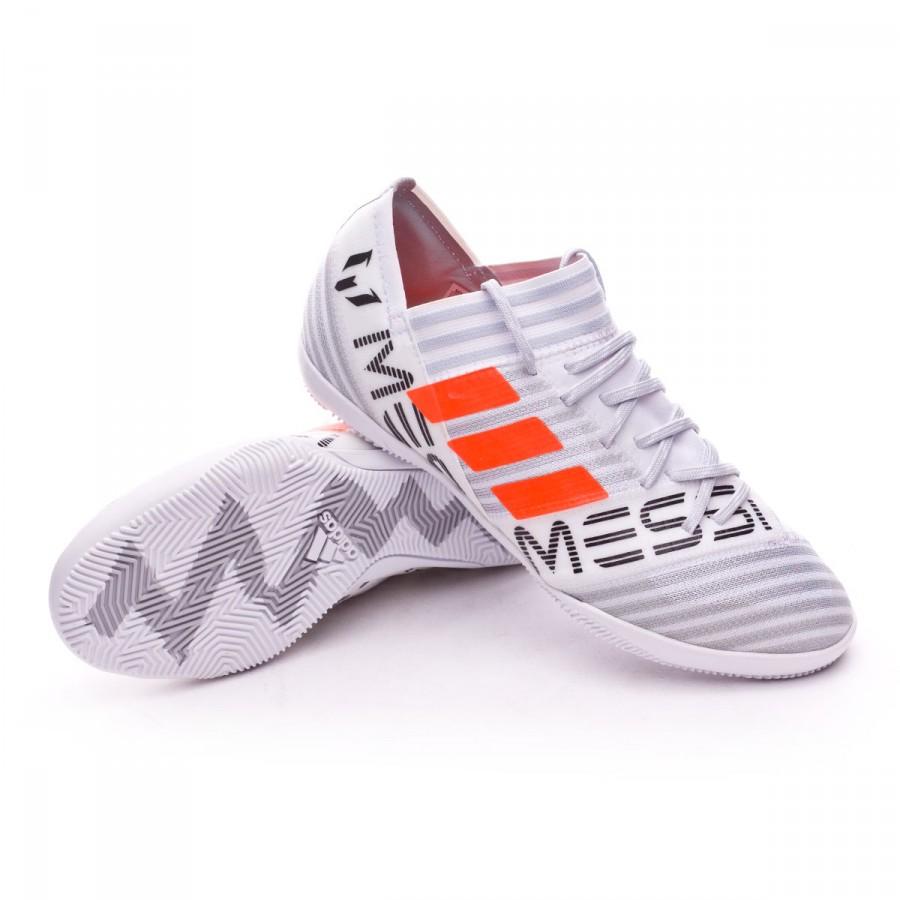 03ae5642fe249 Futsal Boot adidas Kids Nemeziz Messi 17.3 IN White-Solar orange ...