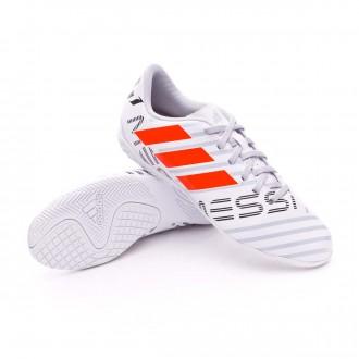 Sapatilha de Futsal  adidas Jr Nemeziz Messi 17.4 IN White-Solar orange-Clear grey