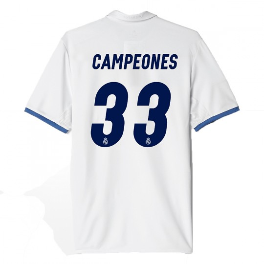 Camiseta  adidas Real Madrid Campeones 33ª Liga Home 2016-2017 Crystal white-Raw purple