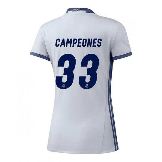 Camiseta  adidas Real Madrid Campeones 33ª Liga Home Mujer 2016-2017 Crystal white-Raw purple