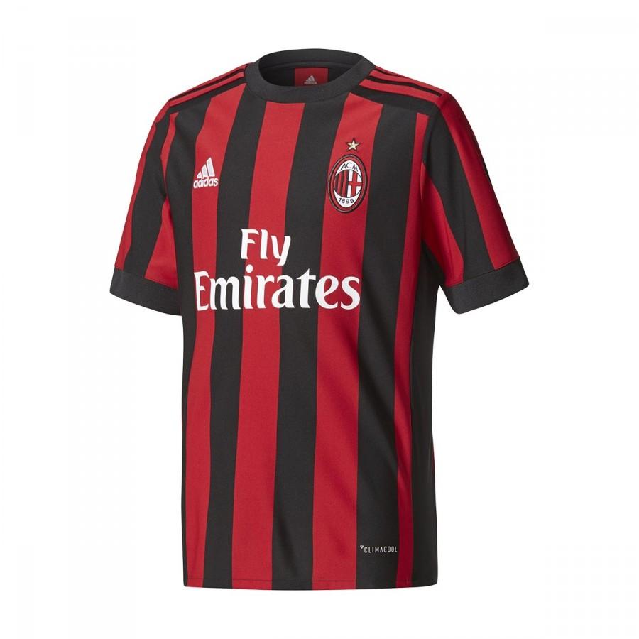 505c4ea8aa7c9 Playera adidas AC Milan Primera Equipación 2017-2018 Niño Black-Red -  Tienda de fútbol Fútbol Emotion