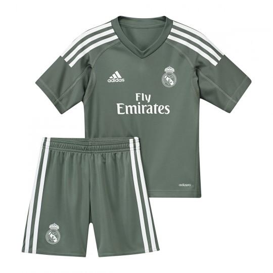 Conjunto  adidas Real Madrid mini Primera Equipación Portero 2017-2018 Niño Trace green-White