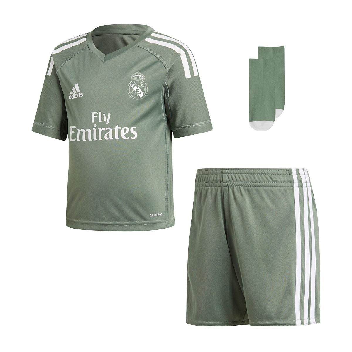 Conjunto adidas Real Madrid Primera Equipación Portero Niño 2017-2018 Trace  green-White - Soloporteros es ahora Fútbol Emotion eba589b97da83