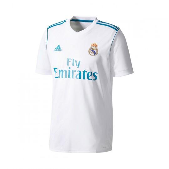Camiseta  adidas Real Madrid Primera Equipación 2017-2018 (sin parche LFP) White-Vivid teal