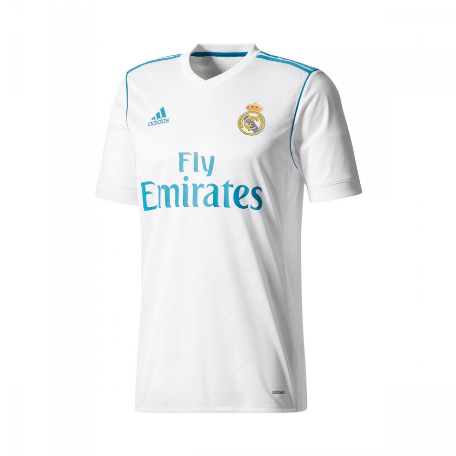83a9afe647128 Playera adidas Real Madrid Primera Equipación Authentic 2017-2018  White-Vivid teal - Tienda de fútbol Fútbol Emotion